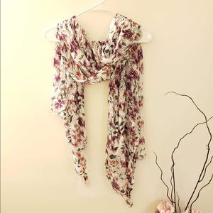 Red and pink floral scarf from Loft